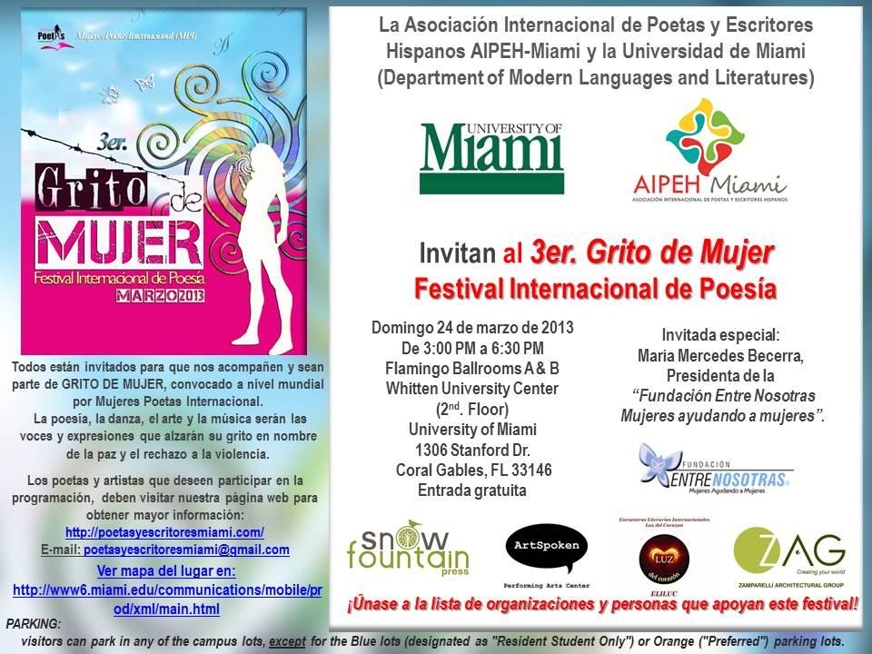 Tarjeta de invitacion al Festival Grito de Mujer 2013