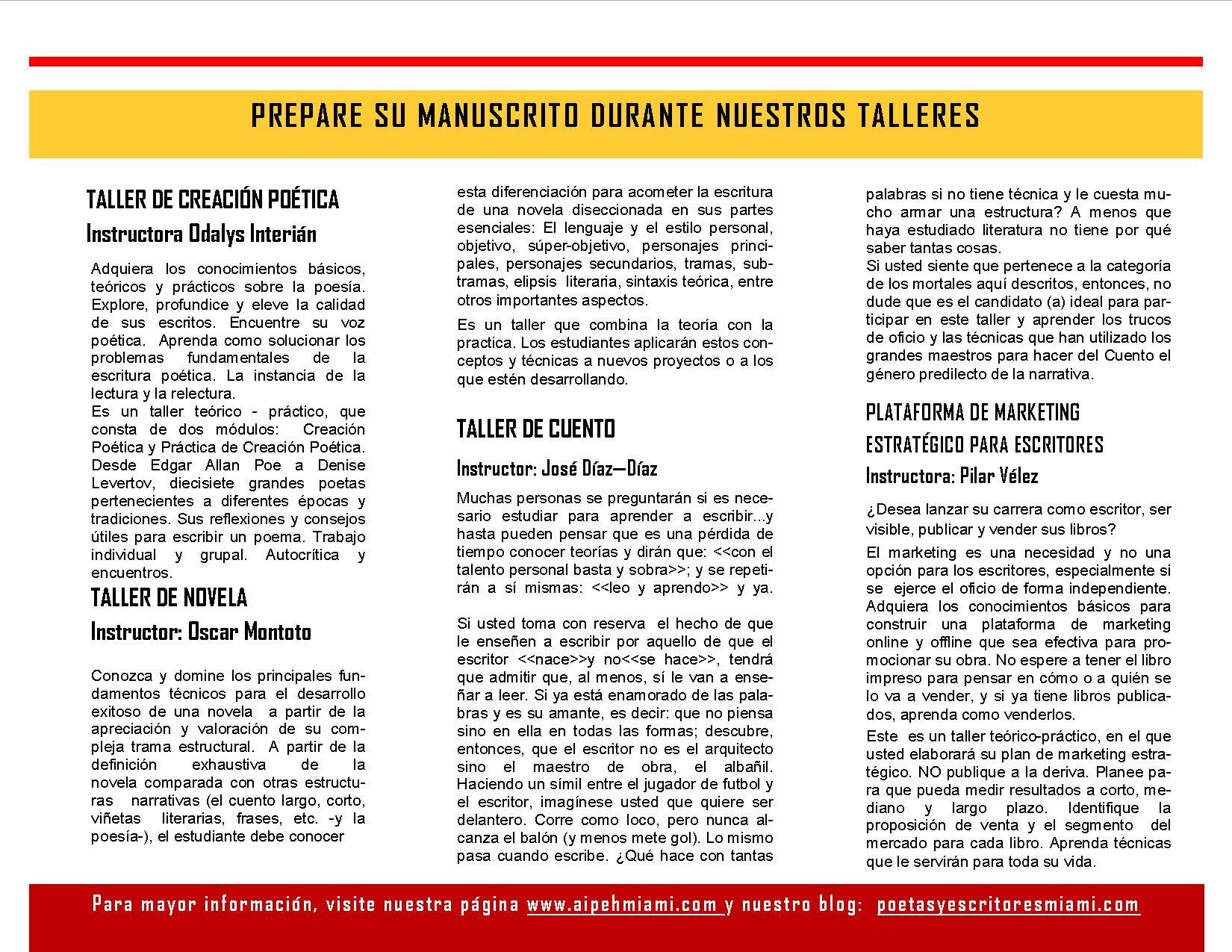 Brochure de talleres para la Feria del Libro 2014 - Descripción