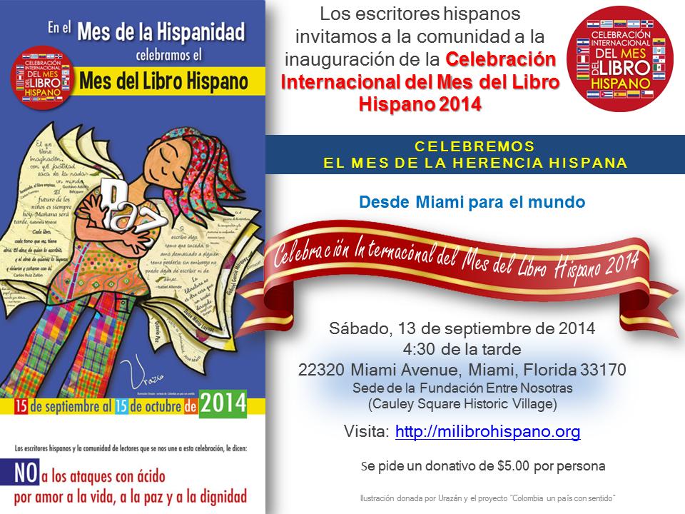 Tarjeta De Invitación Inauguración Mes Del Libro Hispano