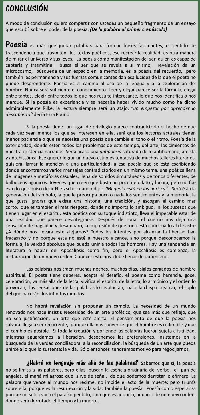 Fragmento del taller de poesía de Odalys Interian